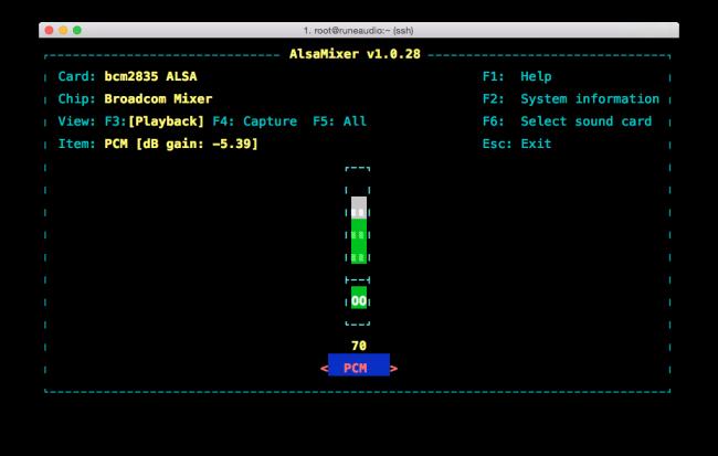 RuneAudio - Alsamixer