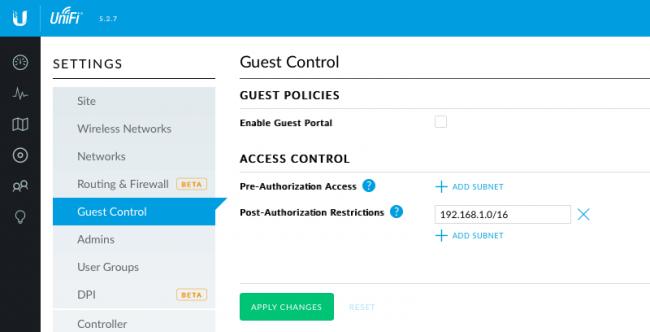 Unifi Controller Gastnetzwerk - Access Policies