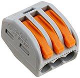 Wago 222-413 3-Leiter-Klemme mit Betätigungshebel, grau/orange, 50 Stk.